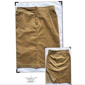 J. Crew Gold Corduroy Skirt Side Slit